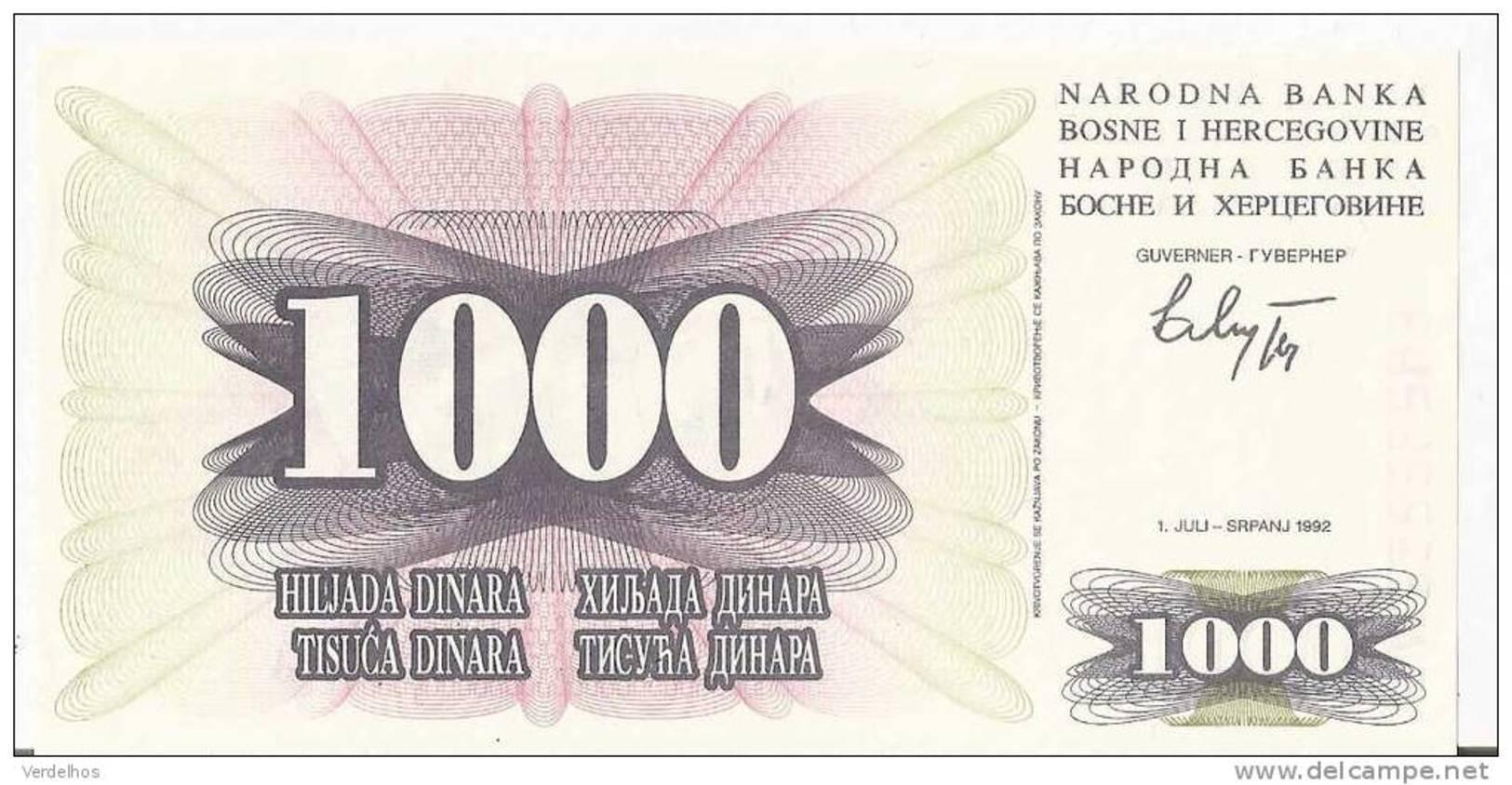 BOSNIE-HERZEGOVINE 1000 DINARA 1992 UNC P 15 - Bosnia Erzegovina