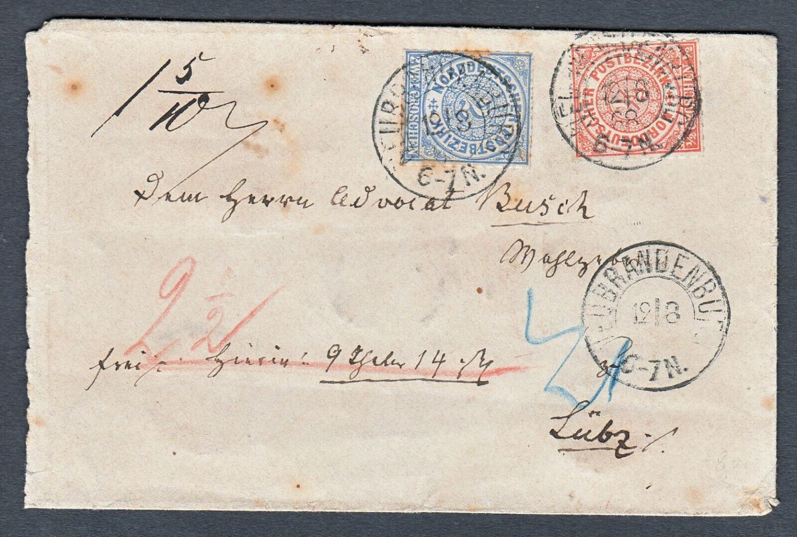 Wertbrief NEUBRANDENBURG Nach Lübz MIF Nr. 3 + 5 - Norddeutscher Postbezirk