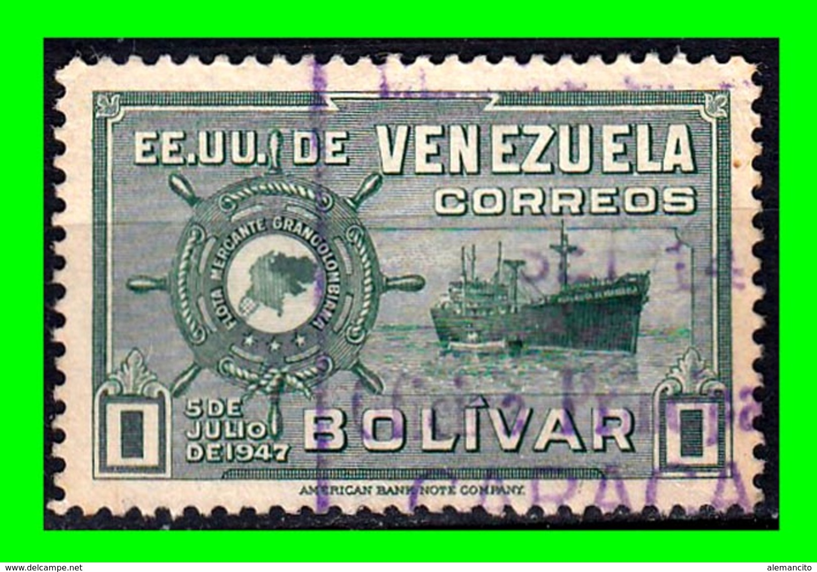 """VENEZUELA SELLOS AÑO 1940-44 REPUBLICA DE VENEZUELA: """" M.S. REPUBLICA DE VENEZUELA """" - Venezuela"""