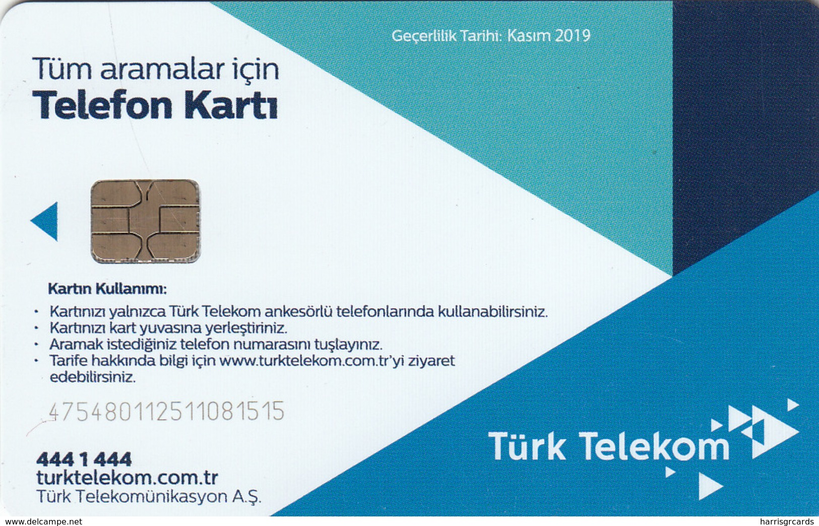 TURKEY - Telefon Kartı , Kasım 2019 (Glossy Card), C.H.T. - CHT05 , 4 ₤ - Turkish Lira ,09/17, Used - Turquie