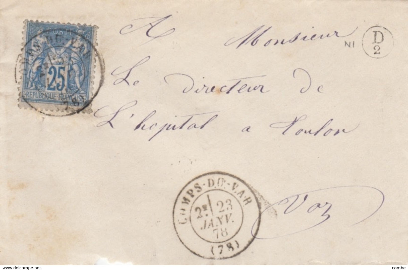 LETTRE. 23 JANV  78. VAR. COMPS-DU-VAR. BOITE RURALE SUPPLEMENTAIRE D/2 - Poststempel (Briefe)