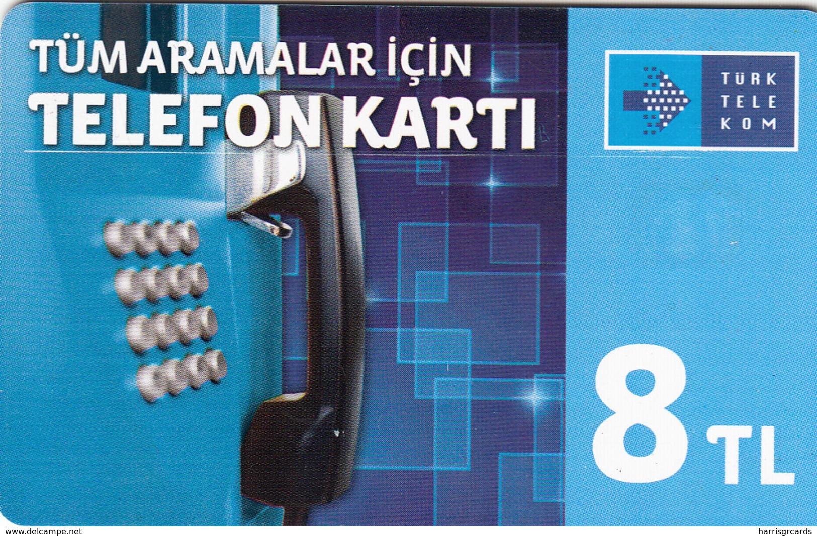 TURKEY - Tüm Aramalar İçin Arama Kartı , Temmuz 2015, Gemplus - GEM5 (Red) , 8 ₤ - Turkish Lira ,02/13, Used - Turquie