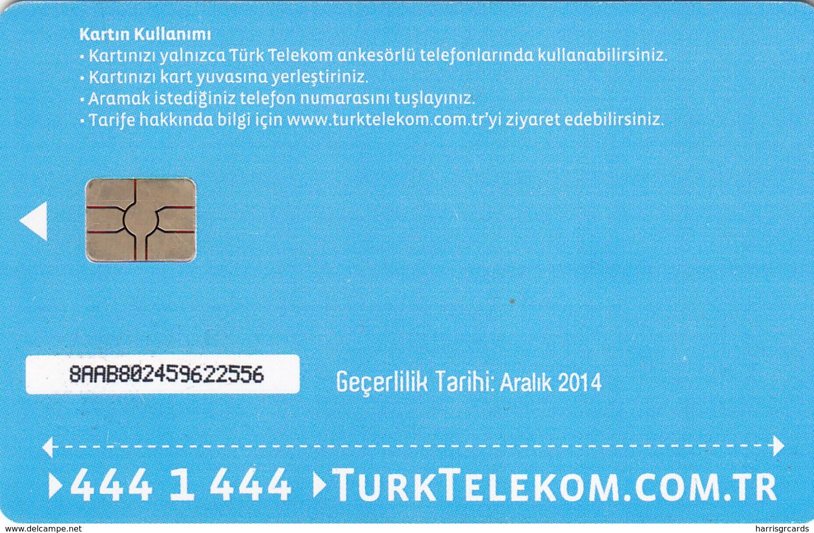 TURKEY - Tüm Aramalar İçin Arama Kartı , Aralık 2014, Gemplus - GEM5 (Red) , 4 ₤ - Turkish Lira ,07/12, Used - Turquie