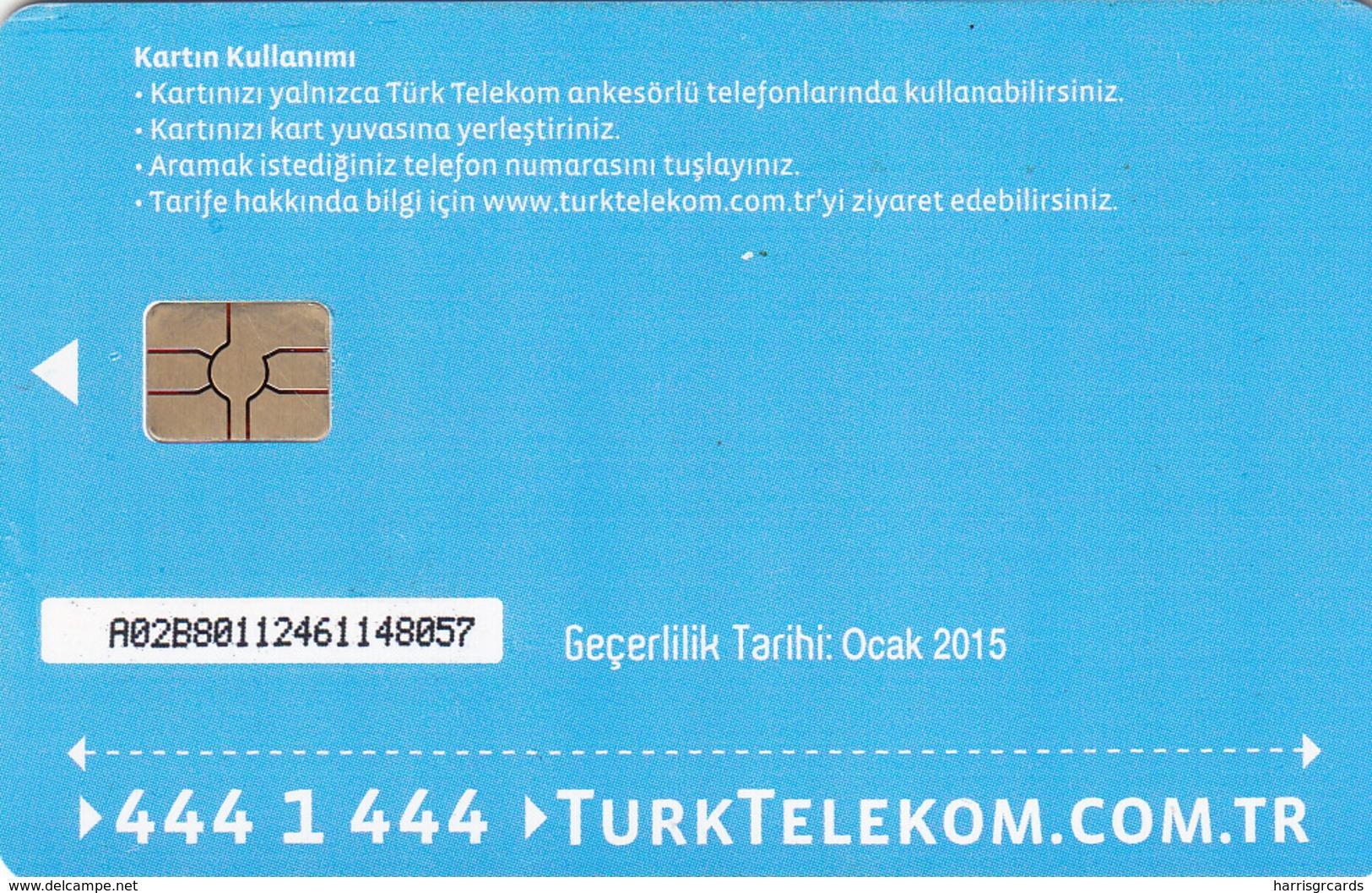 TURKEY - Tüm Aramalar İçin Arama Kartı , Ocak 2015, Gemplus - GEM5 (Red) , 4 ₤ - Turkish Lira ,08/12, Used - Turquie