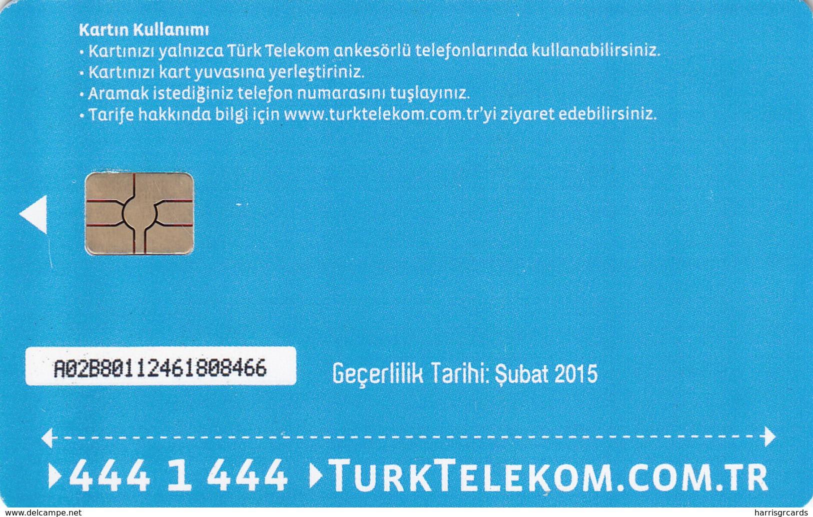 TURKEY - Tüm Aramalar İçin Arama Kartı , Şubat 2015, Gemplus - GEM5 (Red) , 4 ₤ - Turkish Lira ,09/12, Used - Turquie