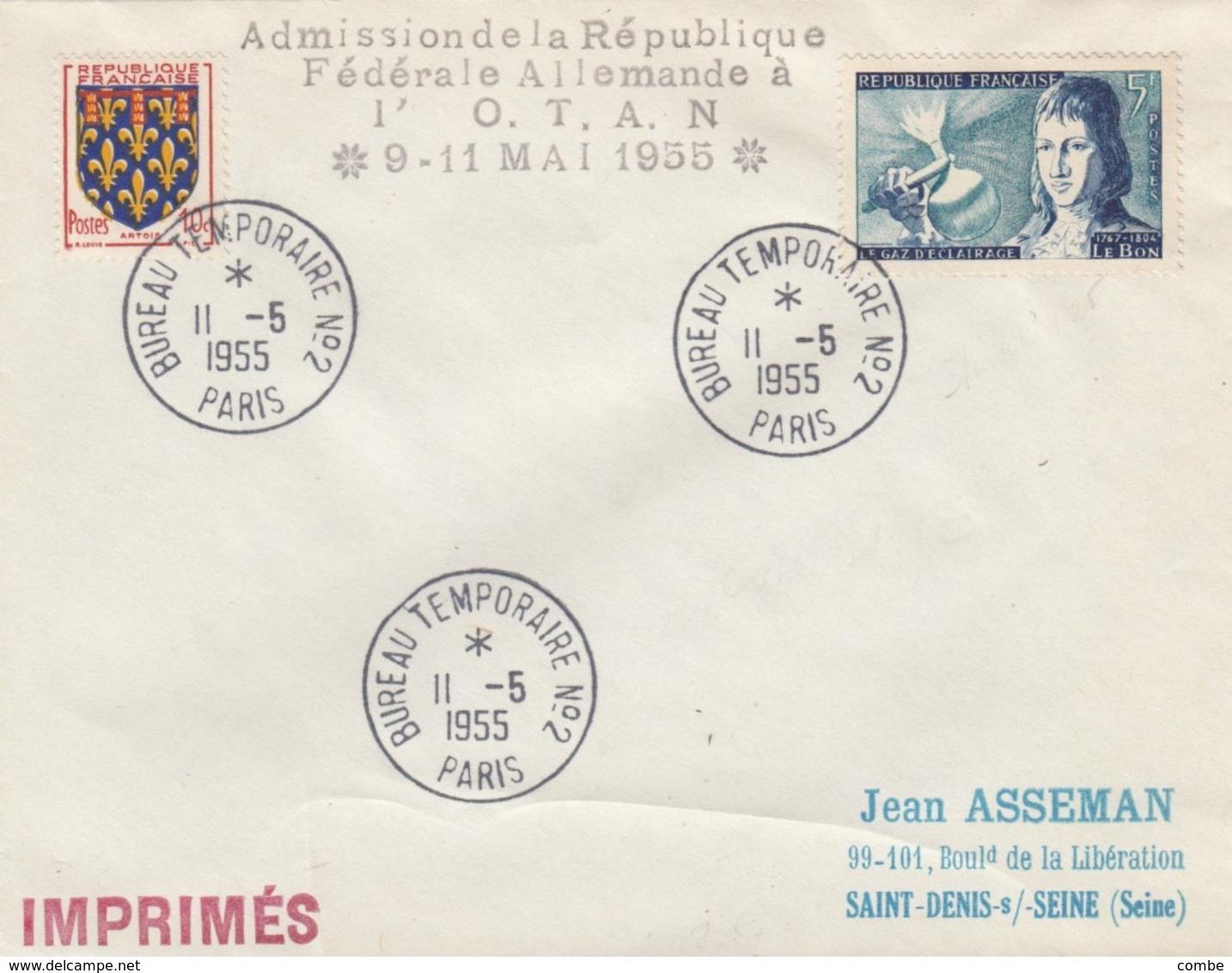 LETTRE. 11 5 55. PARIS BUREAU TEMPORAIRE N° 2. ADMISSION DE LA RFA A L'OTAN - Poststempel (Briefe)