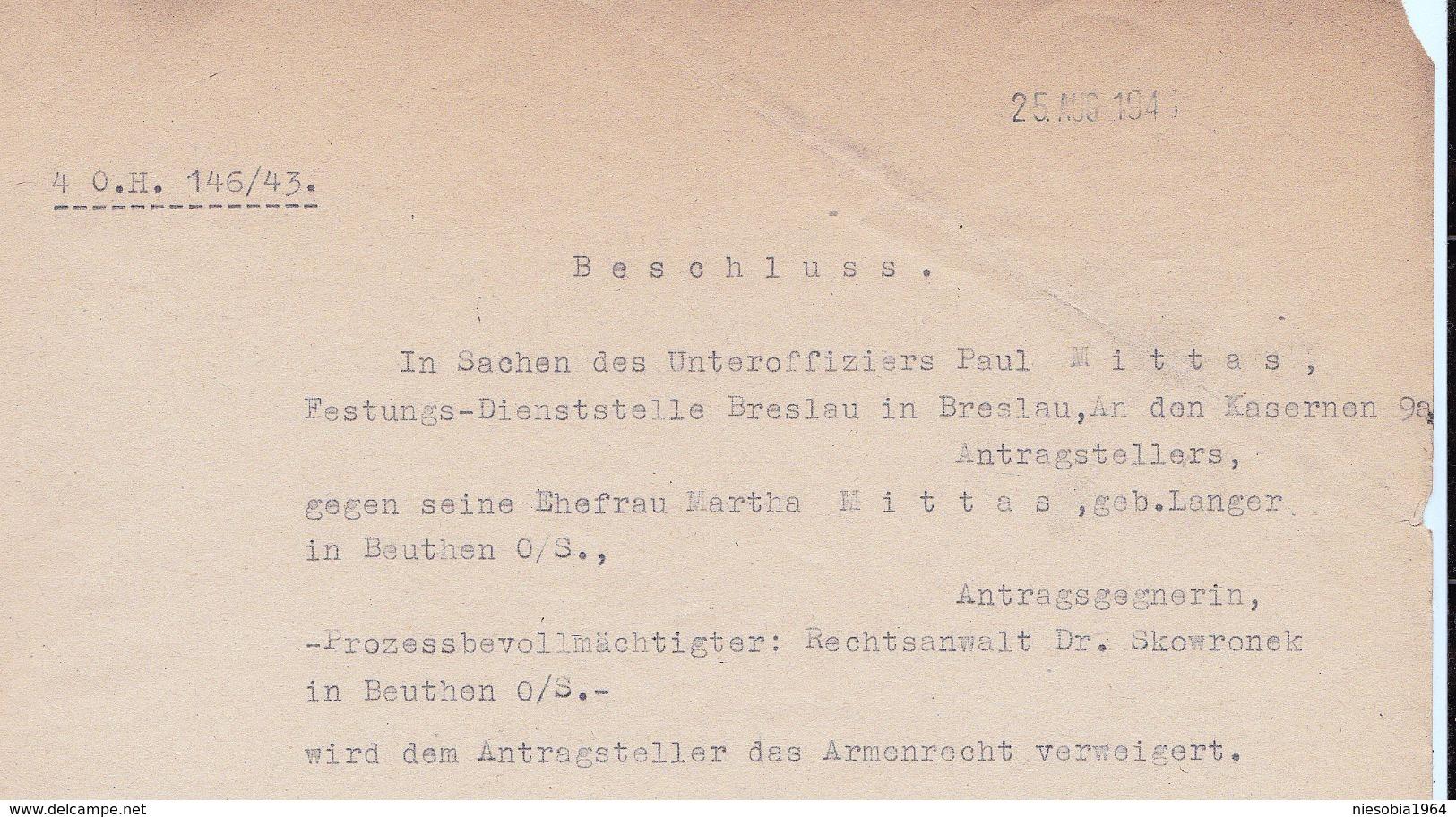 WW2 Oberschlesien Landgericht Beuthen Gericht Sachen Unteroffizier Paul Mittas - Festung - Dienststelle Breslau 1941 - 1939-45
