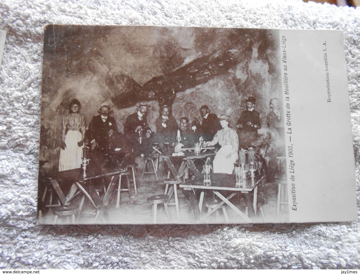 2 Cpa Expo Liege 1905 Grotte De La Houillere Au Vieux Liege Buvette - Luik