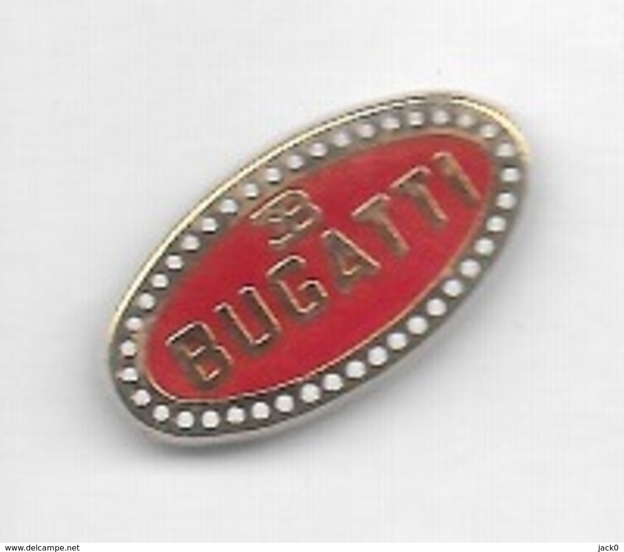 Pin's  Fond  Rouge, Automobile  Sigle  BUGATTI - Pin's