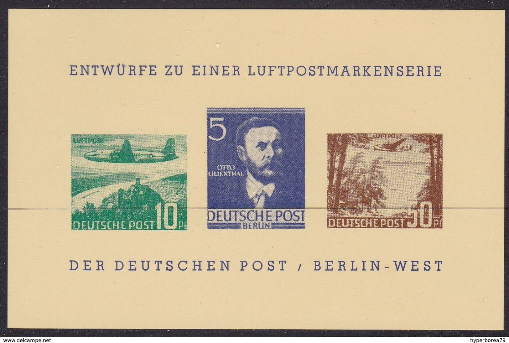 Germany - Entwürfe Luftpostmarkenserie BERLIN WEST Vignette (3v) M/S - MNH - Erinnofilia
