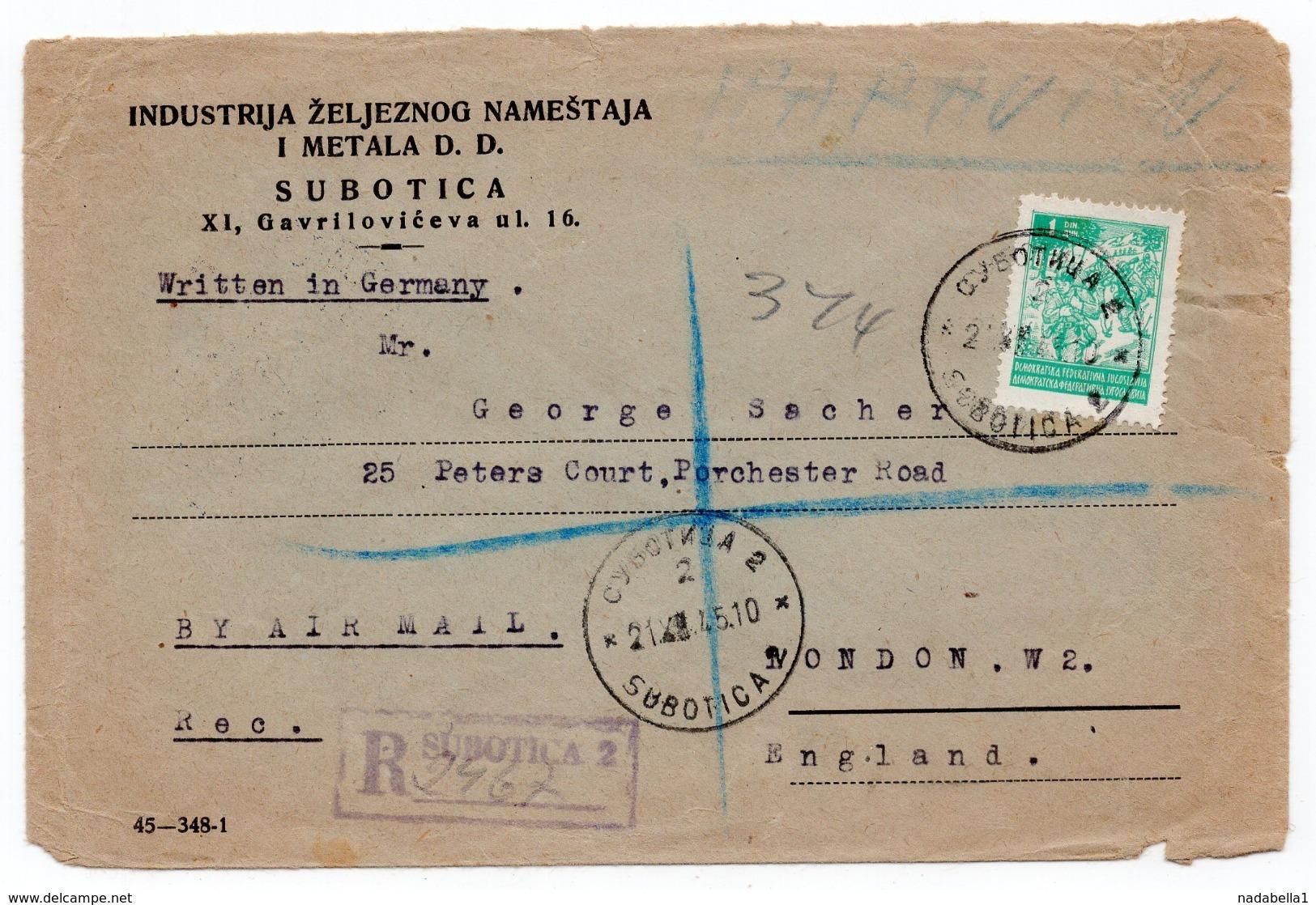 21.12.1945. YUGOSLAVIA, SERBIA, REGISTERED LETTER, SUBOTICA TO LONDON, UK, MILITARY COVER, CENSORED - 1945-1992 Socialistische Federale Republiek Joegoslavië