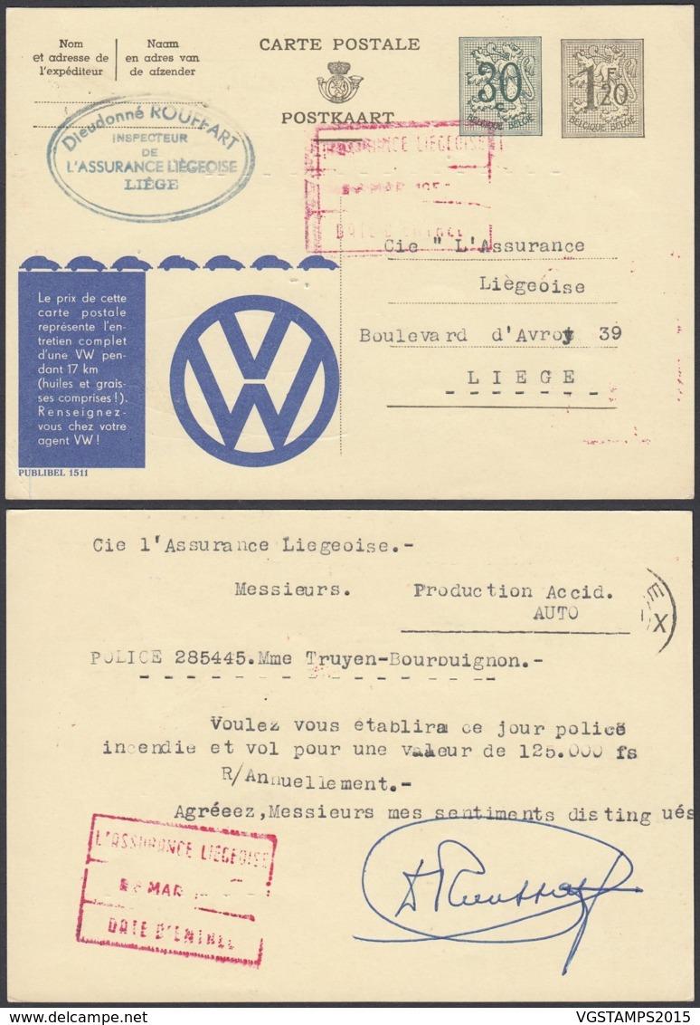Publibel 1511 - 1F20 + 30c Voyagée - Thématique Auto - VW (DD) DC4540 - Entiers Postaux