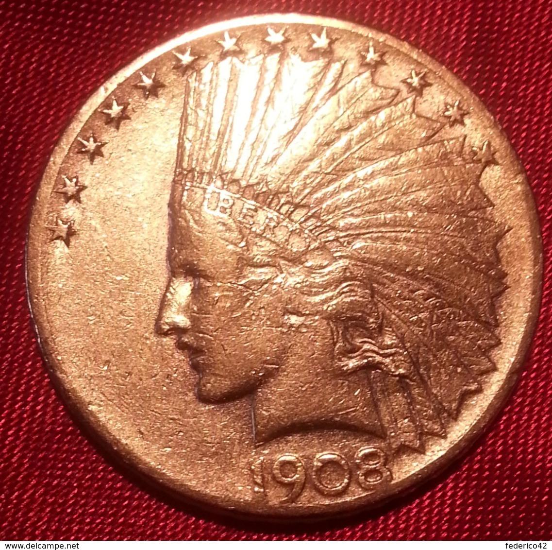 """RARISSIMA MONETA ORO 10 DOLLARI INDIANO 1908 ZECCA """"S"""" SPL STATI UNITI AMERICA - L. Gold (Or)"""