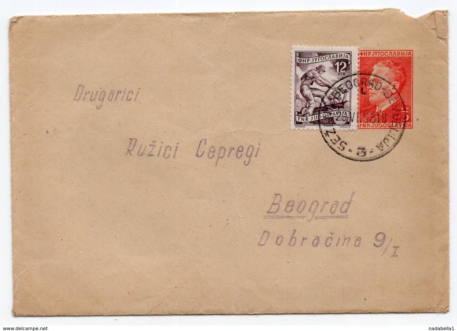 1953 FNR YUGOSLAVIA, SLOVENIA, TPO 3 SEZANA-BEOGRAD-DJEVDJELIJA, STATIONARY COVER - Postal Stationery