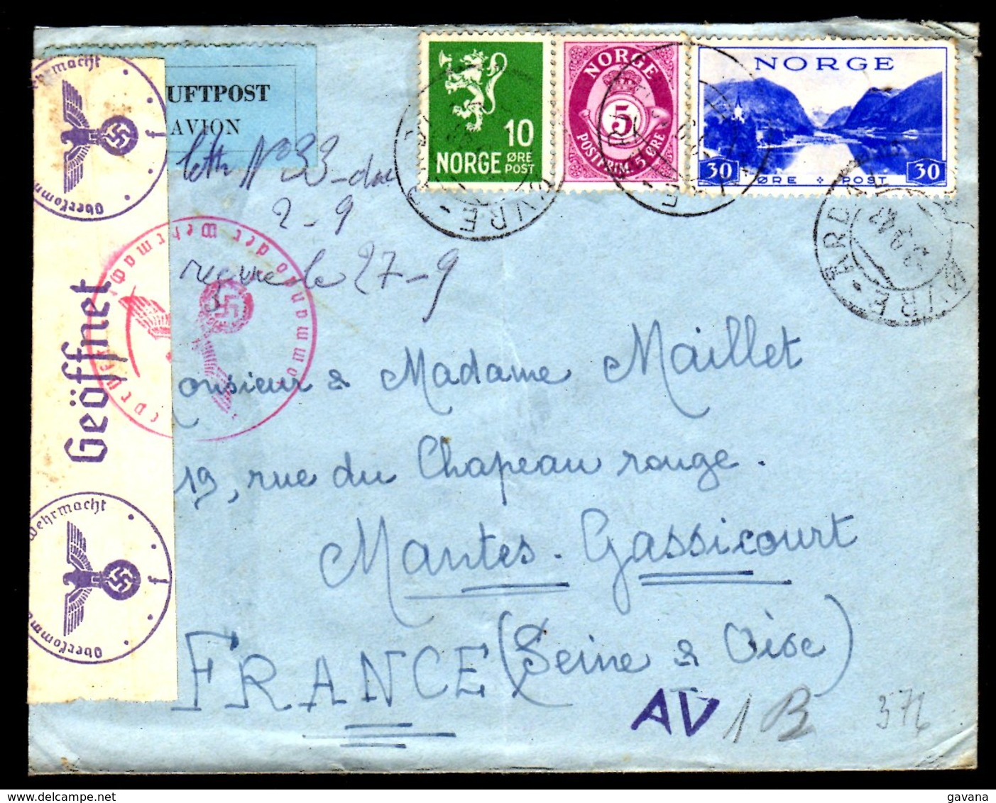 STO En Norvège - Censure Militaire - OVRE-ARDAL Du 03/09/43 - Lettres & Documents