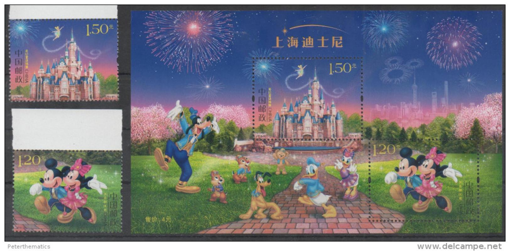 CHINA, 2016, MNH,SHANGHAI DISNEYLAND, DISNEY, FIREWEORKS,MICKEY MOUSE, DONALD DUCK, GOOFY, PLUTO, 2v+S/SHEET - Disney