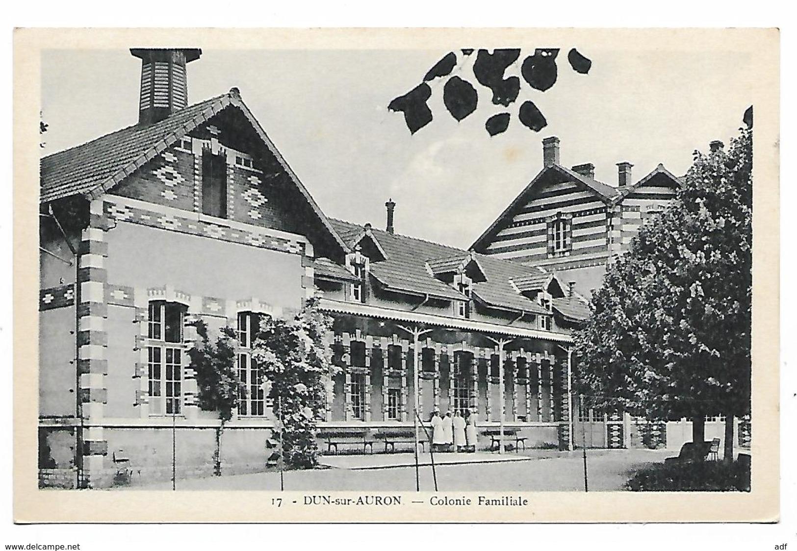 CPA DUN SUR AURON, PETITE ANIMATION DEVANT LA COLONIE FAMILIALE, CHER 18 - Dun-sur-Auron