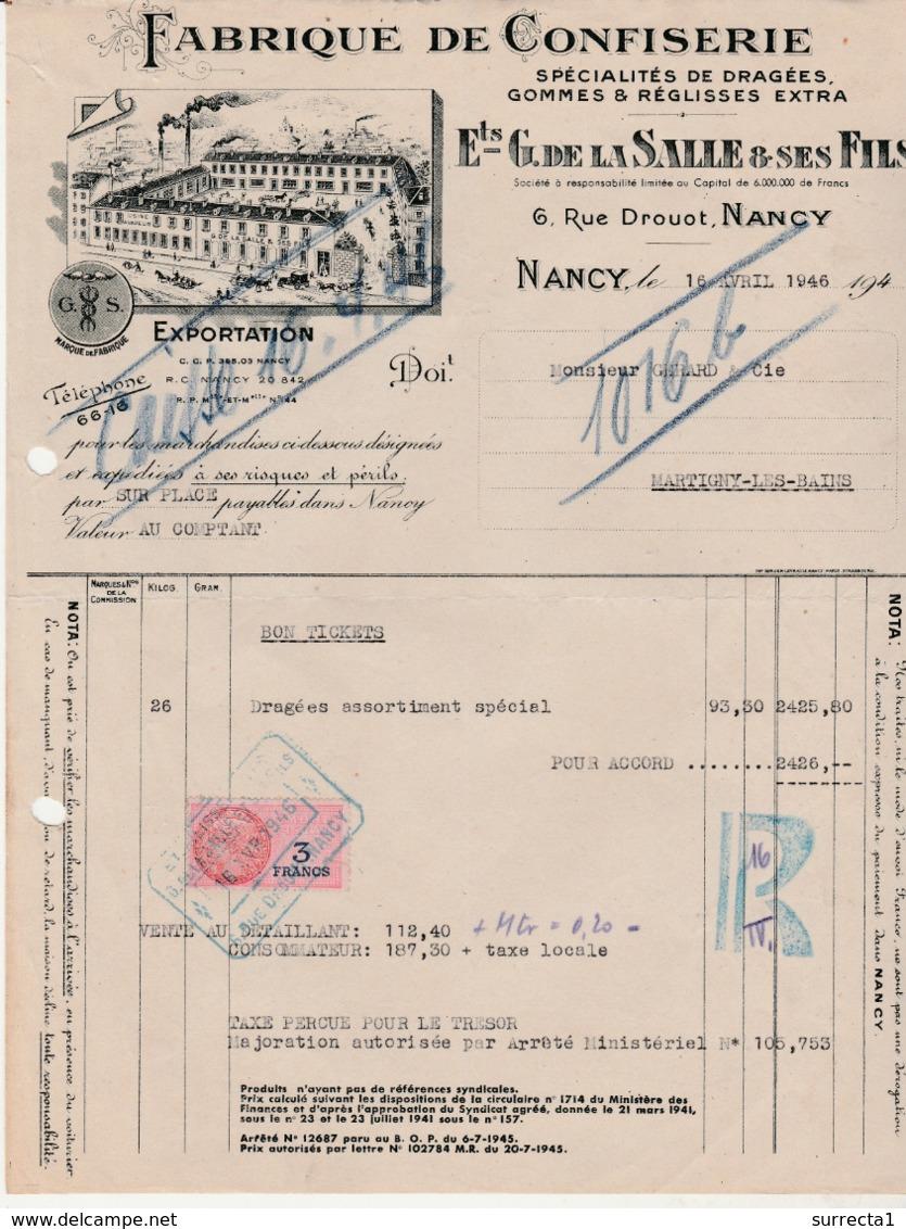 1946 / Rationnement / De La Salle 54 Nancy / Envoi De Dragées, Confiserie / Contre Bon Tickets - 1939-45