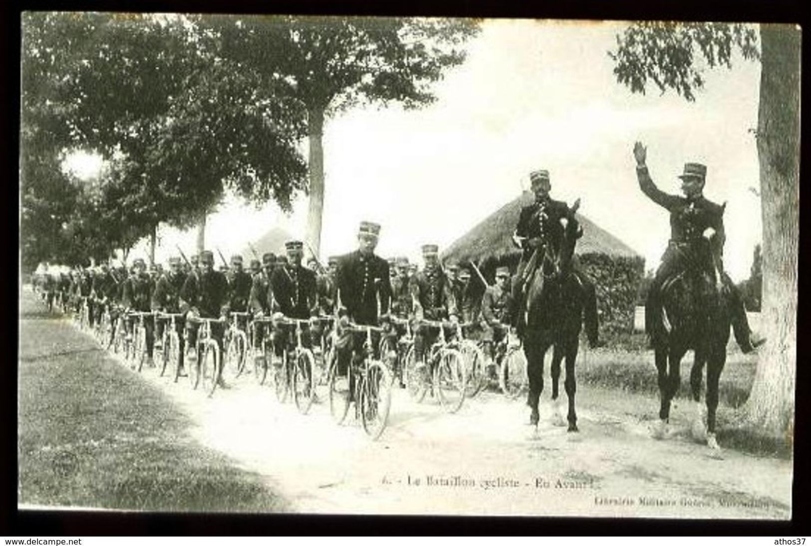 Camp De Chalons (51-Marne) - 6 : Le Bataillon Cycliste - En Avant - (Gros Plan Animé, Vélos, Chevaux) - Manoeuvres