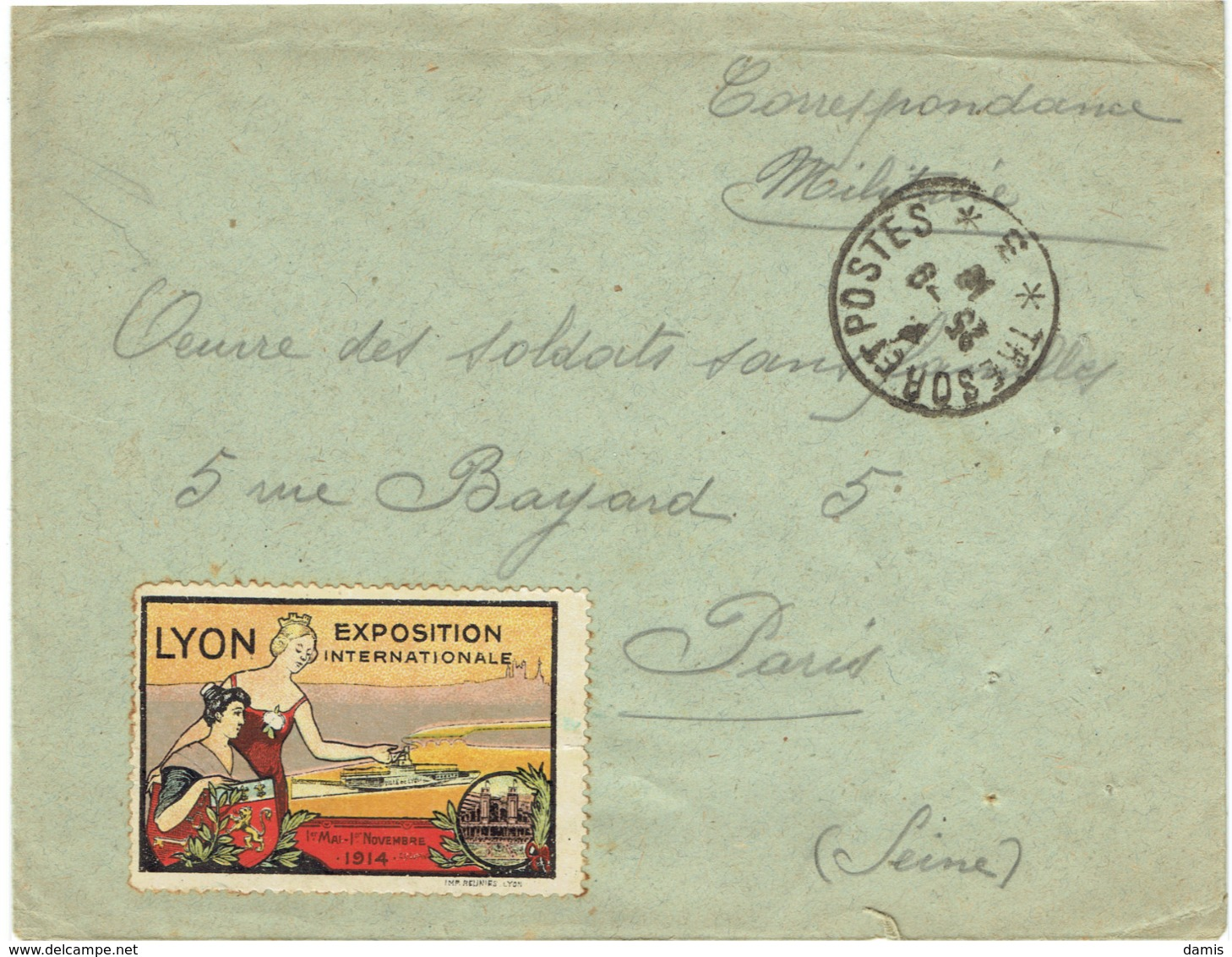 Expo Inter; Lyon 1914 Sur Lettre En Franchise - Autres