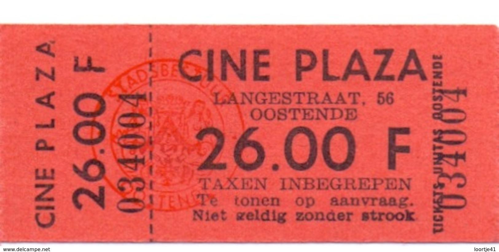Ticket D' Entrée Ingangsticket - Cinema Bioscoop Ciné Plaza - Oostende - Tickets - Entradas