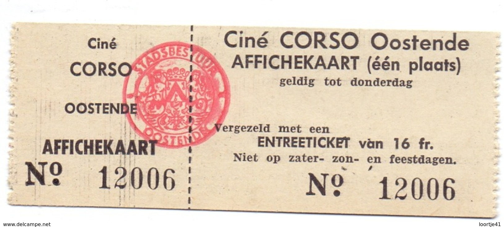Ticket D' Entrée Ingangsticket - Cinema Bioscoop Ciné Corso - Oostende - Tickets - Vouchers