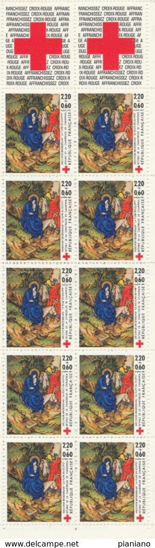 PIA - FRA -1987 : Pro Croce Rossa. Pala Della Certosa Di Champmol Dipinto Di Melchior Broederlam- Carnet - (Yv BC 2469A) - Vetri & Vetrate