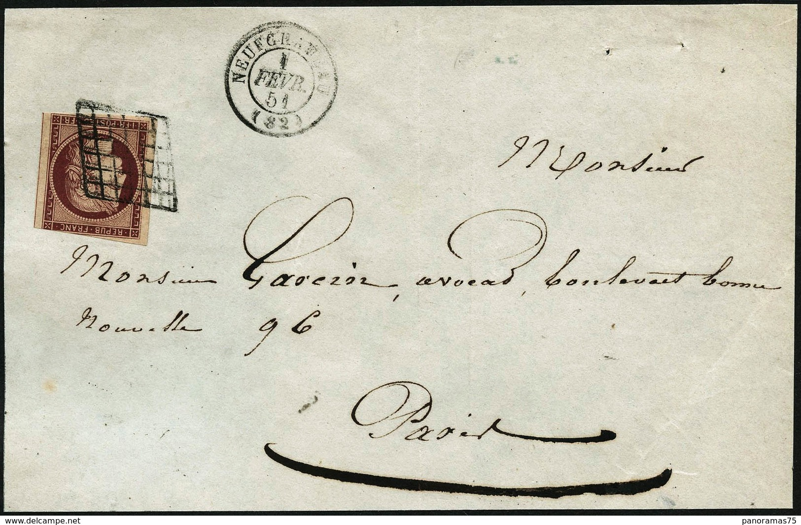 Lettre N°6b 1F Carmin Foncé S/devant De Lettre, Une Marge Touchée - B - 1849-1850 Ceres