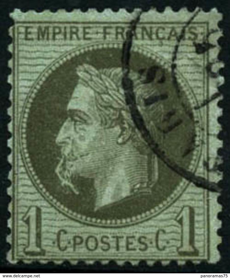 Oblit. N°25b 1c Bronze ( à La Cigarette) Infime Pelurage Au Verso - B - 1863-1870 Napoléon III Con Laureles