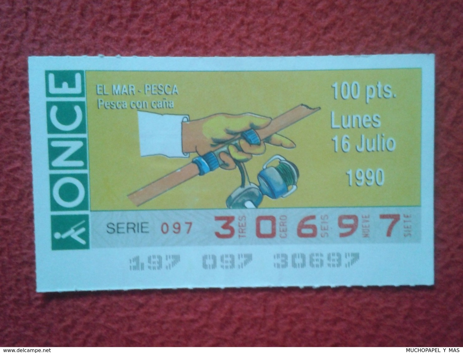 CUPÓN DE ONCE LOTTERY SPAIN LOTERÍA ESPAÑA EL MAR THE SEA LA MER 1990 PESCA CON CAÑA FISHING ROD ANGLING PÊCHE CANNE.... - Billetes De Lotería