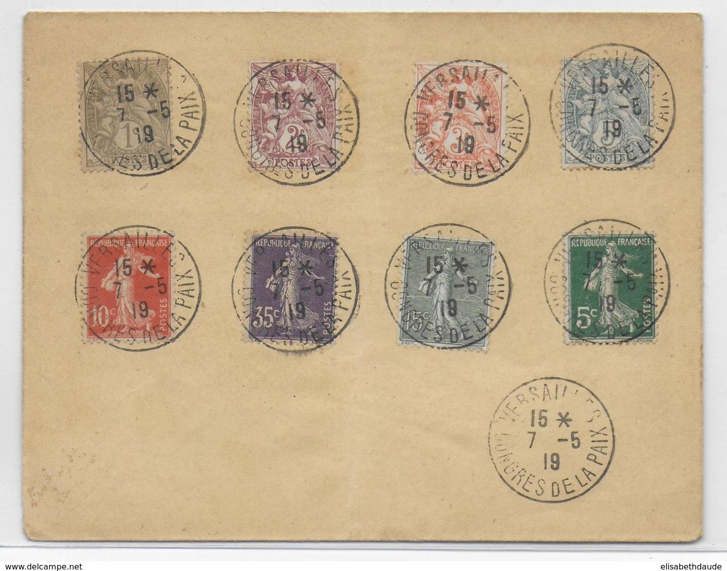 1919 - CONGRES DE LA PAIX à VERSAILLES - OBLITERATION TEMPORAIRE SUR ENVELOPPE - Postmark Collection (Covers)