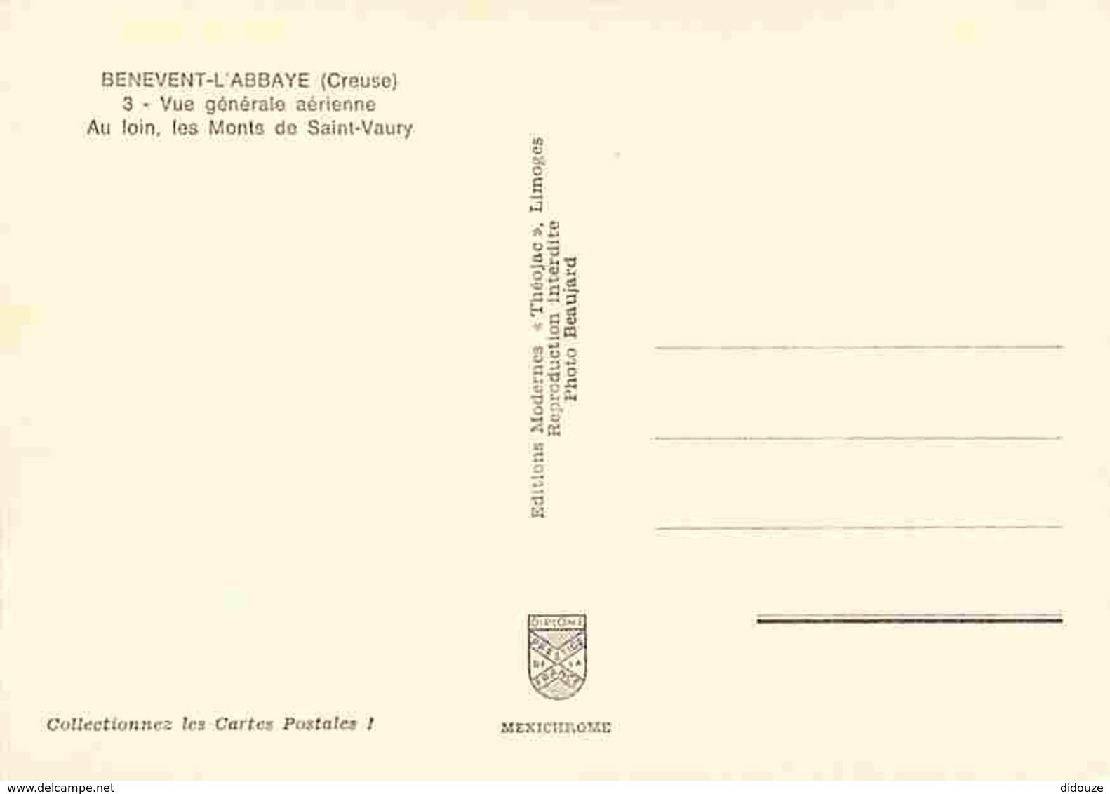 23 - Benevent L'Abbaye - Vue Générale Aérienne - Au Loins Les Monts De Saint Vaury - Carte Neuve - Voir Scans Recto-Vers - Benevent L'Abbaye