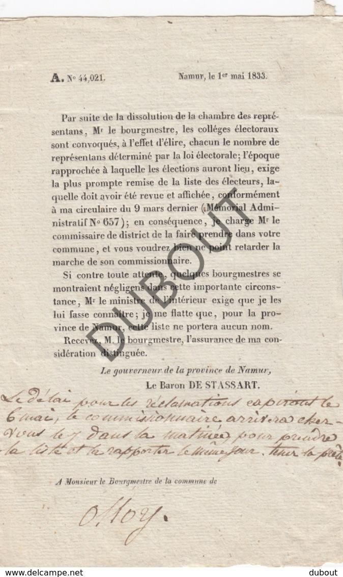 Olloy-sur-Viroin/Viroinval Lettre Impimé Du Gouverneur De La Province De Namur Baron De Stassart 1833 (R465) - Oud