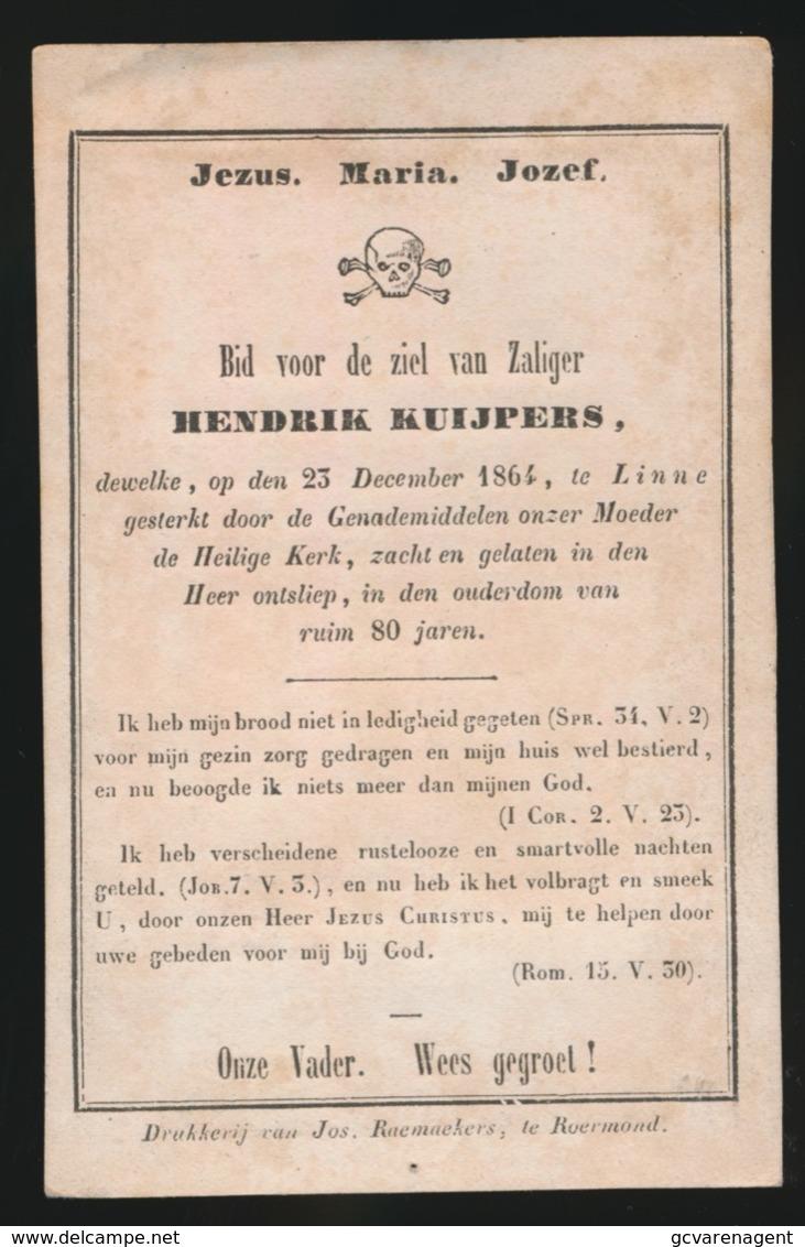HENDRIK  KUIJPERS - 23 DEC 1864 TE LINNE  80 JAAR OUD  2 AFBEELDINGEN - Overlijden