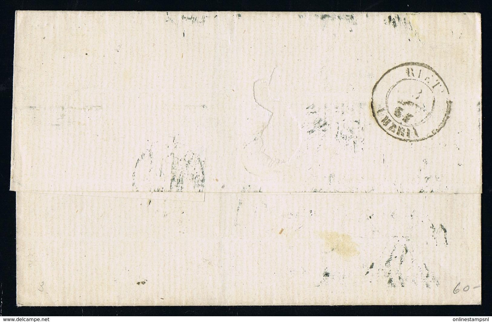 Italy Papel States: Cover 1864 Sa 3  Roma  -> Rieti - Kerkelijke Staten