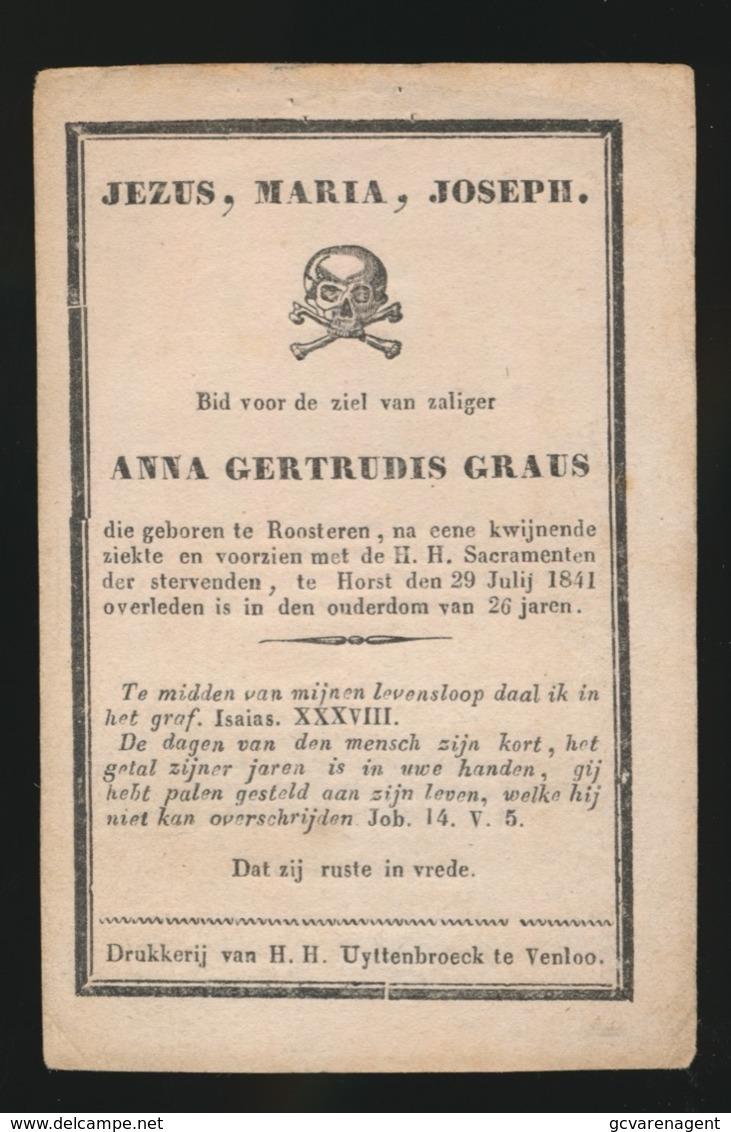 ANNA GRAUS  - ROOSTEREN  1841  26 JAAR OUD    2 AFBEELDINGEN - Overlijden