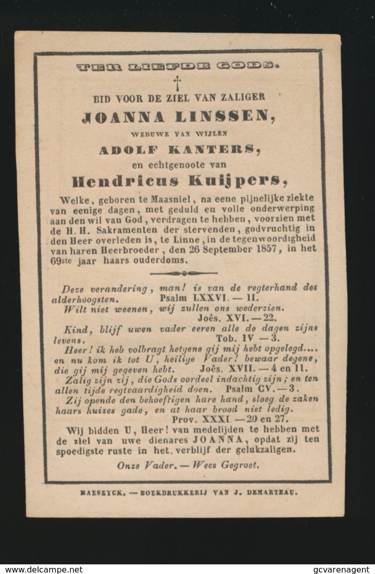 JOANNA LINSSEN - MAASNIEL  LINNE 1857   69 JAAR OUD   2 AFBEELDINGEN - Overlijden