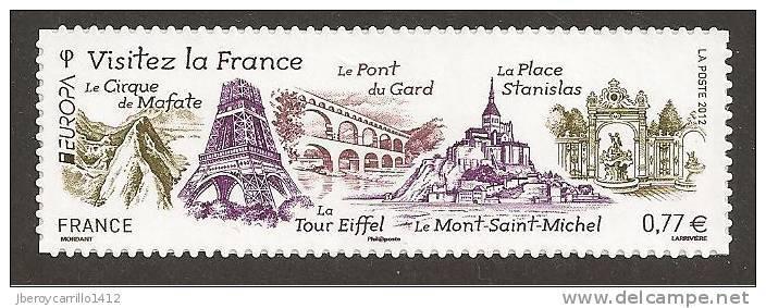 "FRANCIA / FRANCE/ FRANKREICH  EUROPA 2012 -TEMA ANUAL "" VISITE FRANCE"".-  SERIE De 1 V. AUTO-ADHESIVO - Europa-CEPT"
