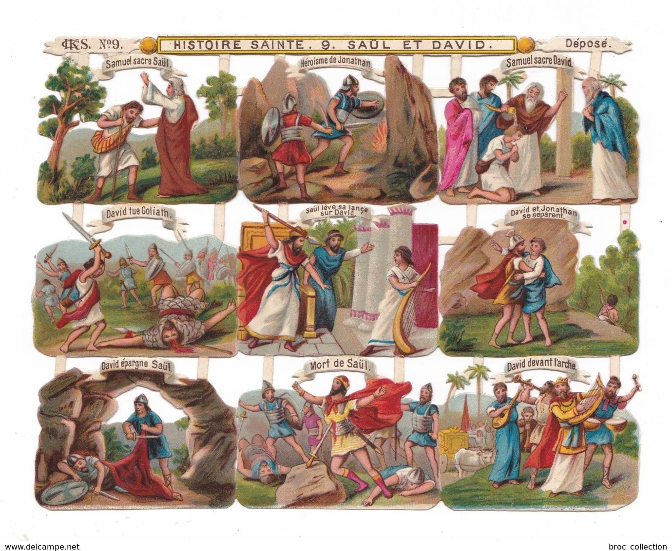 Histoire Sainte, Saül Et David, Planche De Découpis, Chromos, éd. CHKS N° 9, Samuel, Jonathan, Goliath, - Devotieprenten