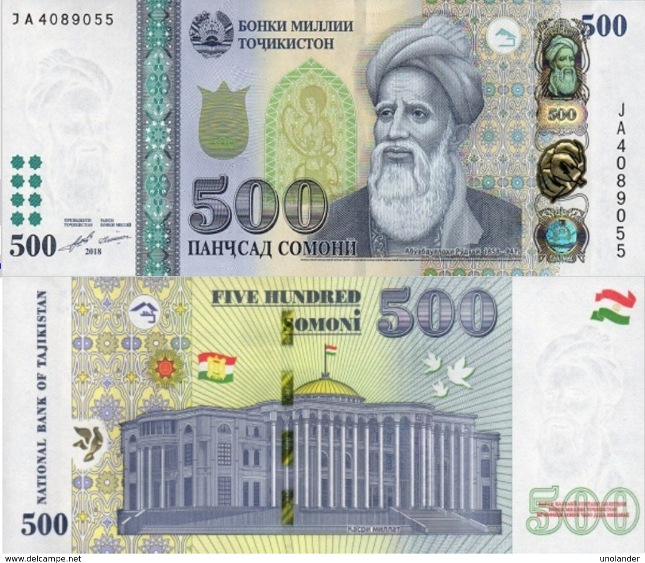 Tajikistan  500 Somoni 2018  P 22 B  UNC - Tadzjikistan