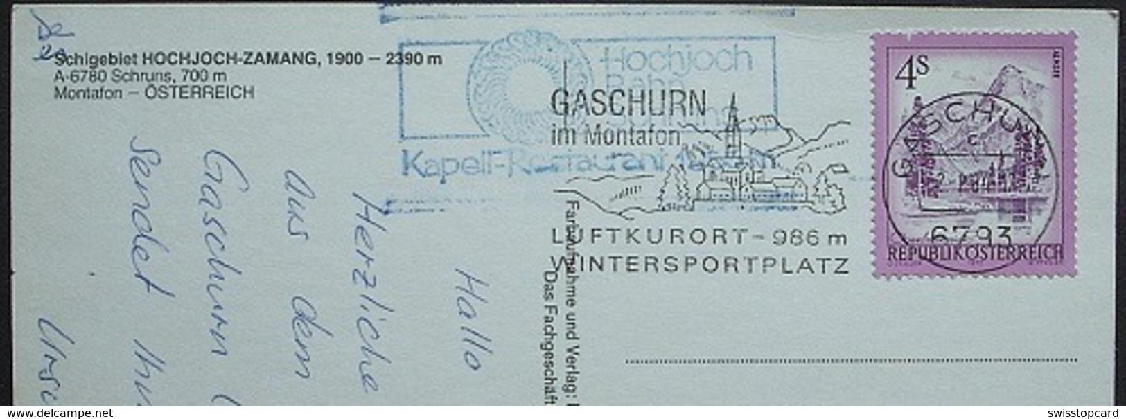 SCHRUNS Skilift Hochjoch-Zamang Gel. 1984 V. Gaschurn Im Montafon Stempel Kastell-Restaurant - Schruns