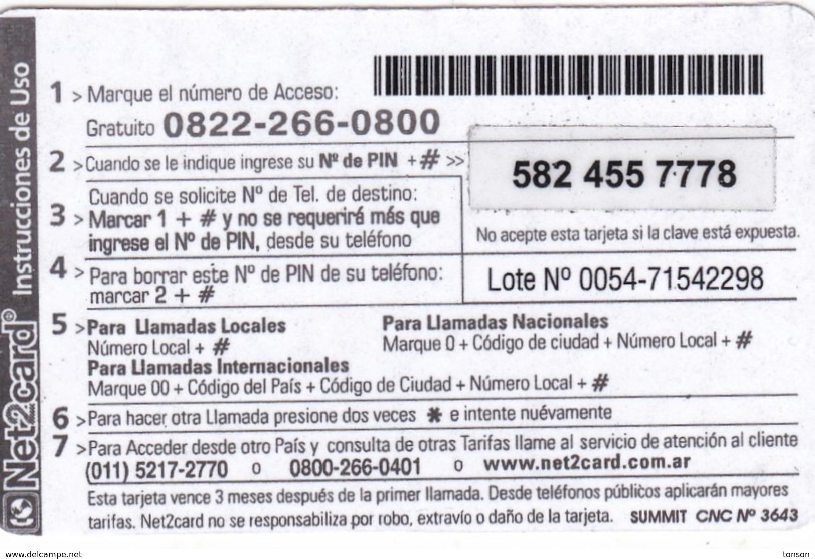 Argentina, AR-Pre-0278, Net2card, Premium $5, 2 Scans. - Argentina