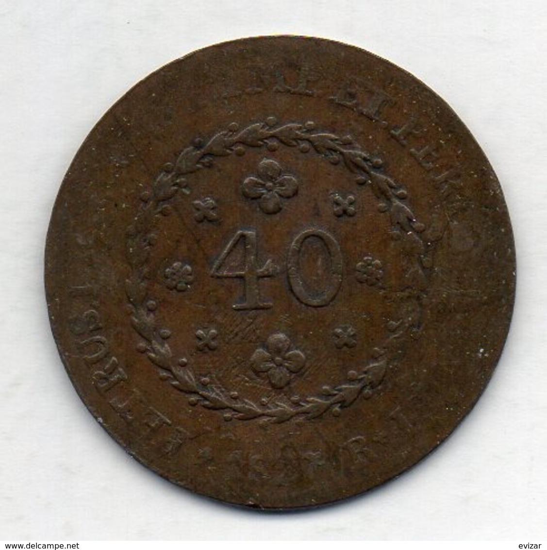 BRAZIL - MINAS GERAIS, 40 Reis, 1827 - R, Copper, KM #363.1 - Brazil