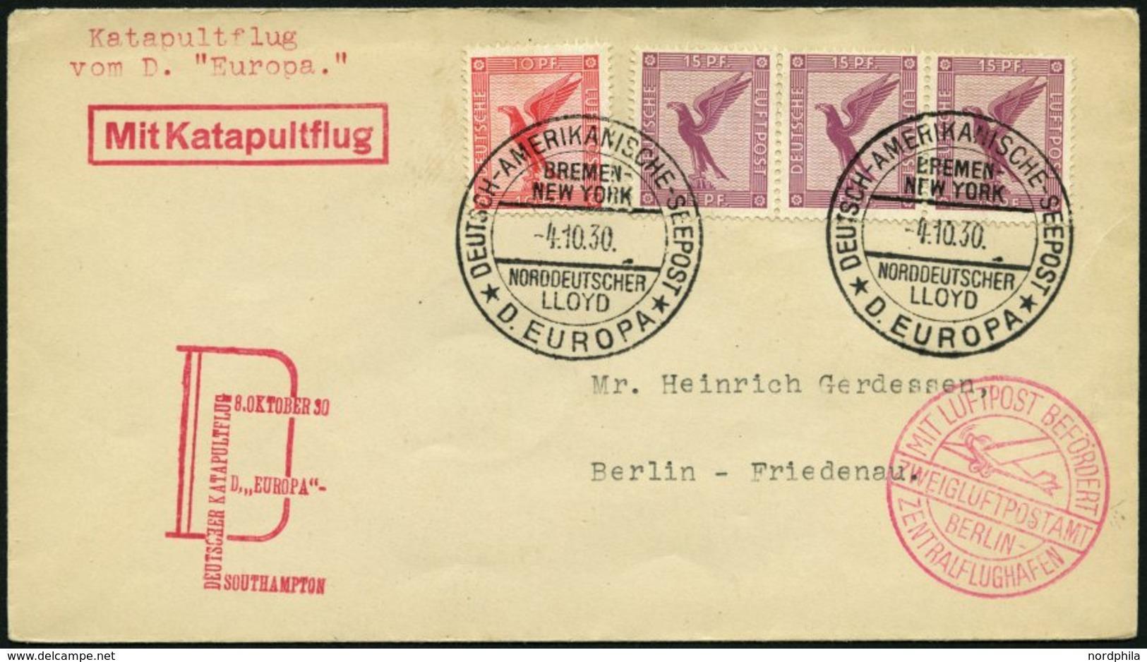 KATAPULTPOST 37c BRIEF, 9.10.1930, &quot,Europa&quot, - Southampton, Deutsche Seepostaufgabe, Prachtbrief - Briefe U. Dokumente