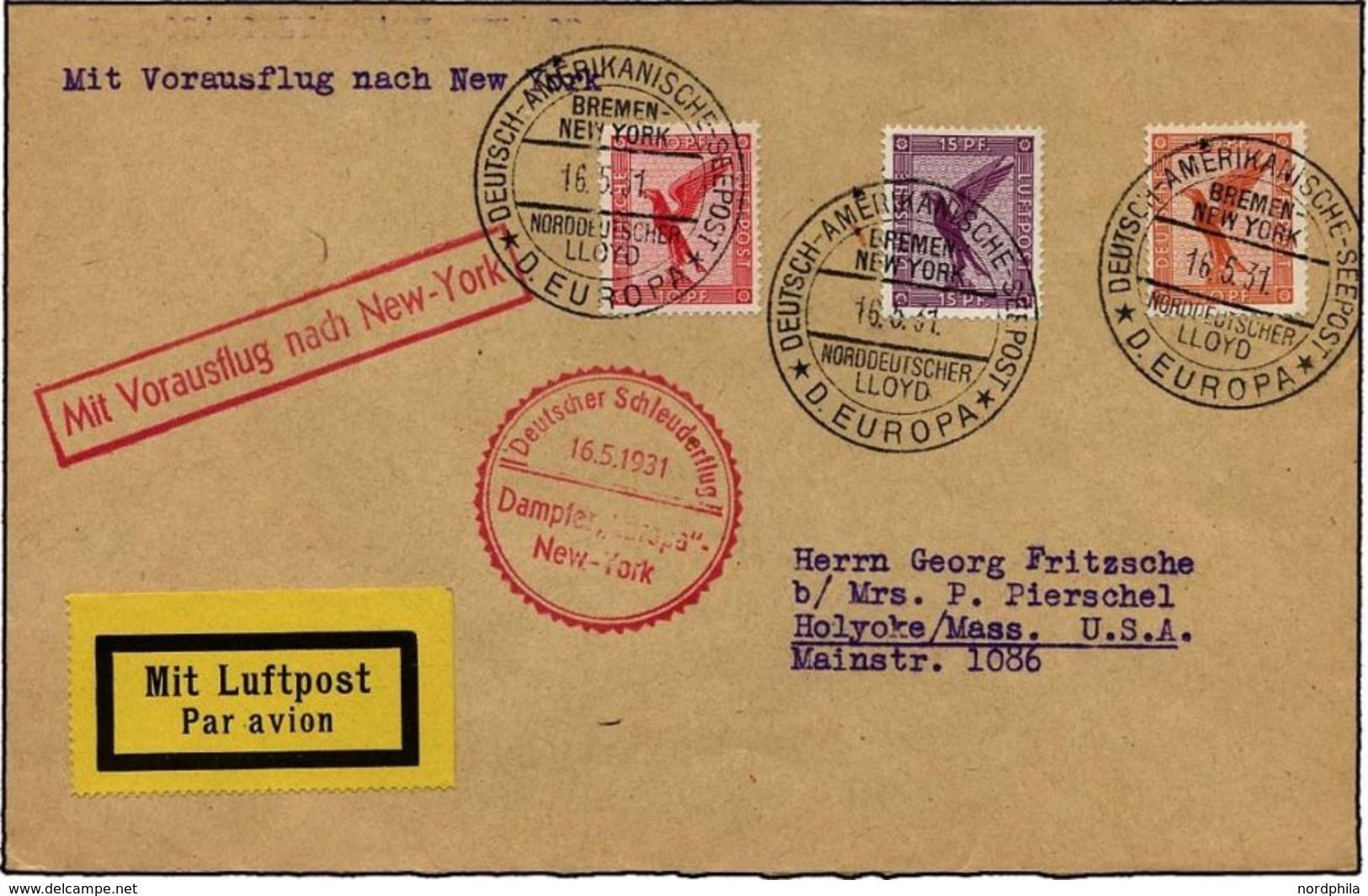 KATAPULTPOST 41b BRIEF, 16.5.1931, Europa - New York, Seepostaufgabe, Prachtbrief - Deutschland