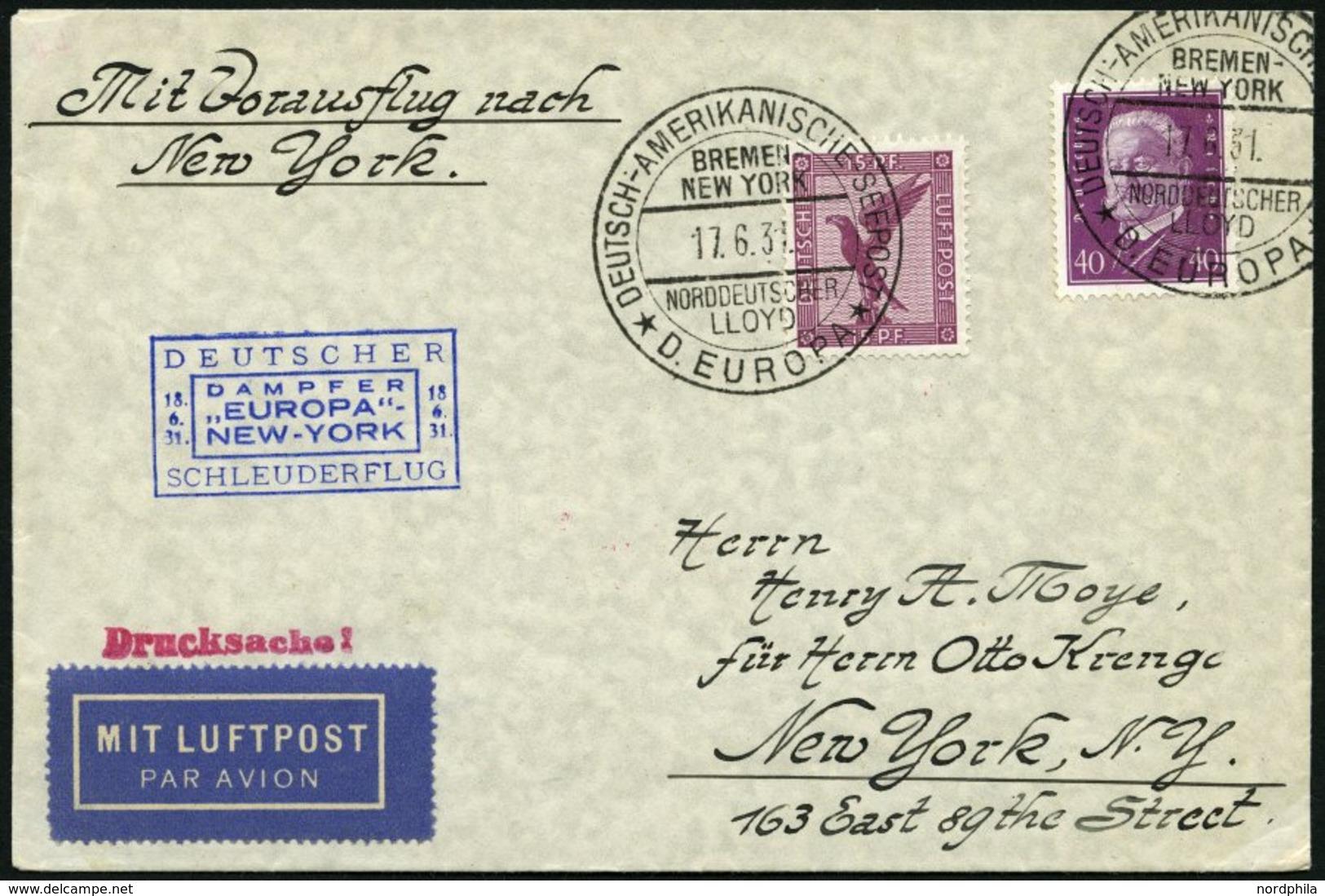 KATAPULTPOST 50b BRIEF, 18.6.1931, &quot,Europa&quot, - New York, Seepostaufgabe, Drucksache, Prachtbrief - Deutschland