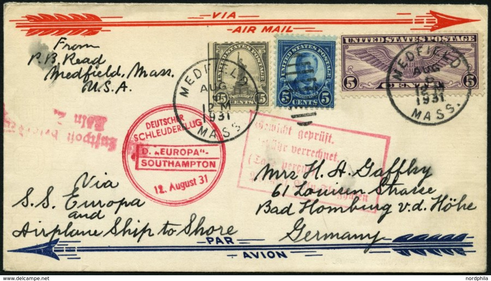 KATAPULTPOST 63a BRIEF, 12.8.1931, Europa - Southampton, US-Landpostaufgabe, Mit Rotem Rechteckstempel Gewicht Geprüft,  - Deutschland