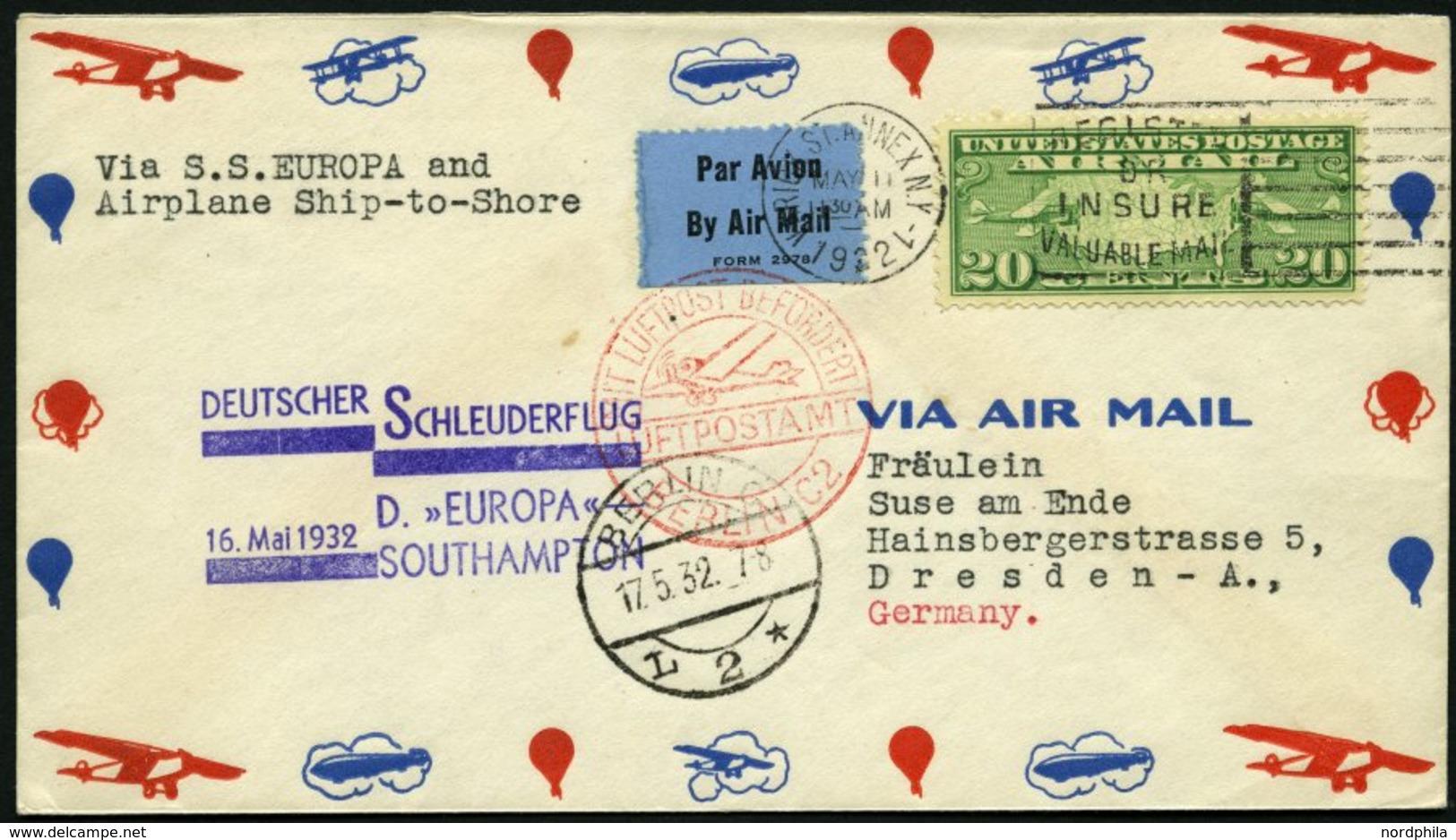 KATAPULTPOST 78a BRIEF, 16.5.1932, &quot,Europa&quot, - Southampton, US-Landpostaufgabe, Prachtbrief - Deutschland