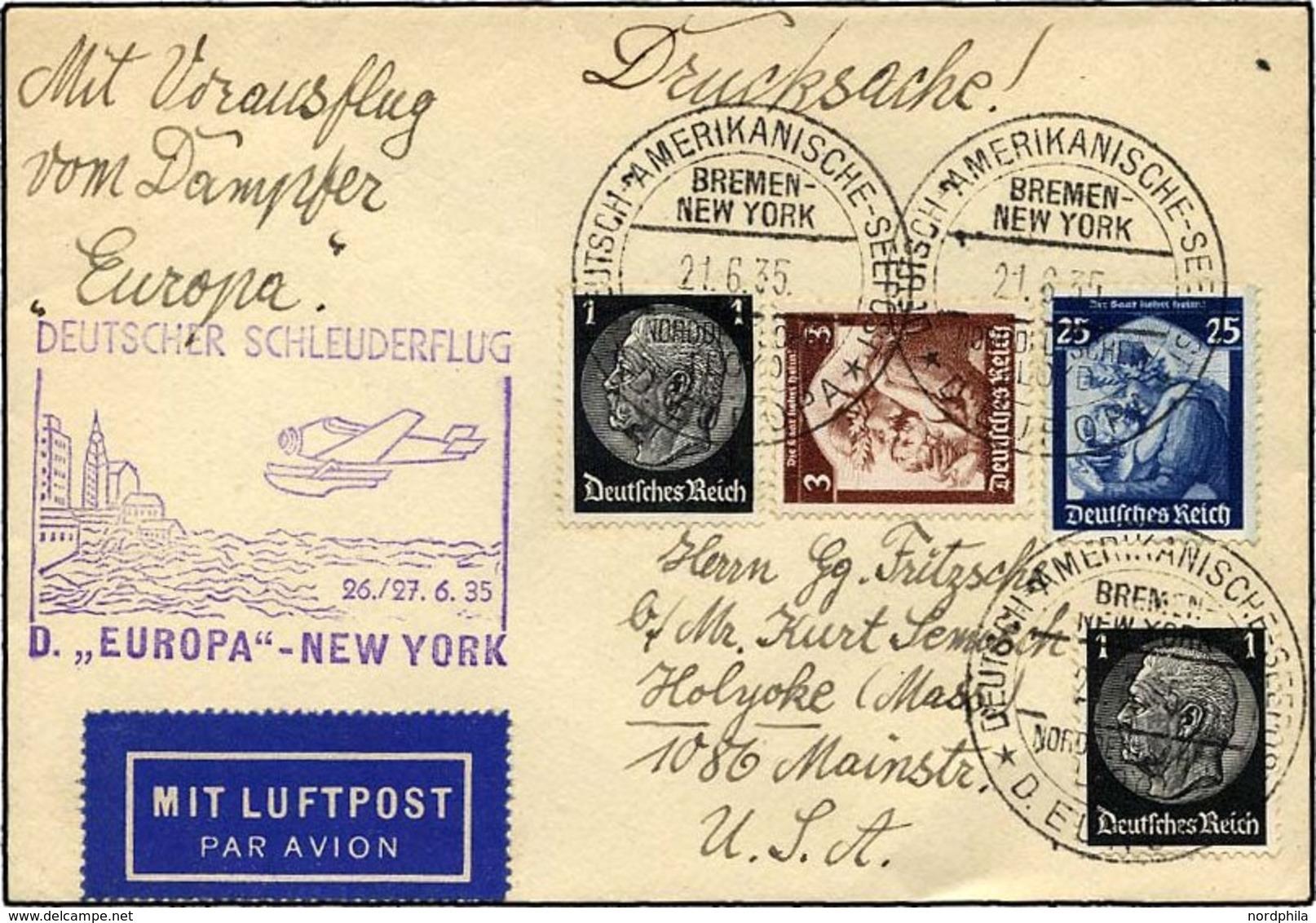 KATAPULTPOST 195b BRIEF, 26.6.1935, Europa - New York, Seepostaufgabe, Drucksache, Pracht - Briefe U. Dokumente