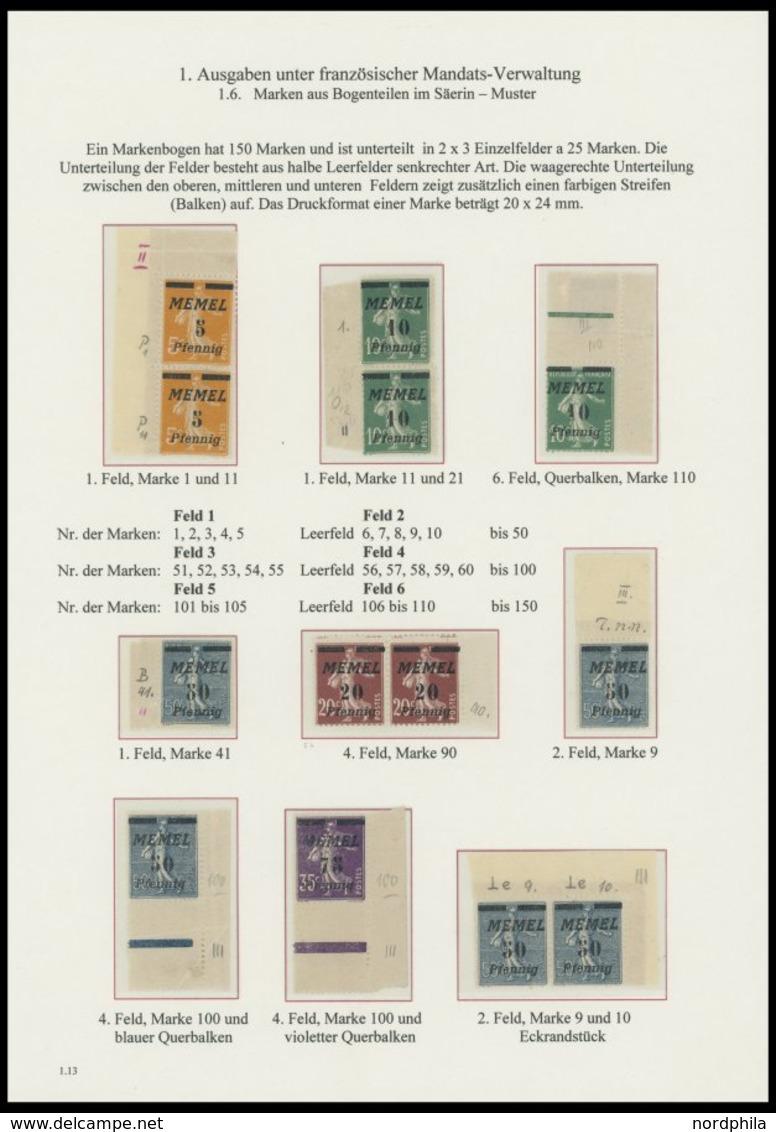 MEMELGEBIET **,* , 1922, Säerin, 50 Werte Mit Feldmerkmalen, Auf 4 Seiten Einer Spezialsammlung, Fast Nur Pracht - Memelgebiet